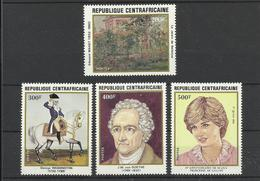 Tableaux Peinture Centrafrique * * YT  507/10  E . Manet Lady Diana  Washington Goethe Cheval - Künste