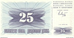 BOSNIA & HERZEGOVINA 25 DINARA 1992 P-11 UNC  [BA011] - Bosnie-Herzegovine