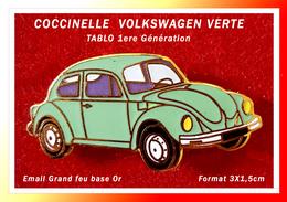 SUPER PIN'S VOLKSWAGEN : Belle COCCINELLE VERTE Signé TABLO 1ere Génération, Format 3X1,5cm - Volkswagen