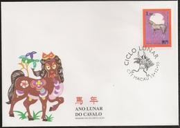 Macau Macao Chine Cover FDC 1995 - Ciclo Lunar Cavalo - Chinese Lunar Calendar Horse - MNH/Neuf - Macao