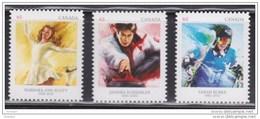 CANADA, 2014, # 2705i-6i-7i, PIONEERS WINTER SPORTS: B. A. SCOTT(1948), S SCHMIRLER (1998), SARAH BURKE (2014) Die Cut - Booklets