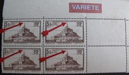 R1718/21 - 1929 - MONT SAINT MICHEL - RARE BLOC CdF N°360a TIMBRES NEUFS** - VARIETE ➤ Clocher Brisé - Cote : 200,00 € - Kuriositäten: 1921-30 Ungebraucht