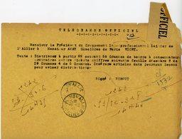 ALLIER TELEGRAMME OFFICIEL 1944 MOULINS PRESIDENT GPT INTERPROFESSIONNEL LAITIER RATIONNEMENT DU BEURRE - Marcophilie (Lettres)