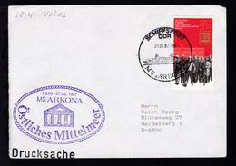 """SCHIFFSPOST DDR MS """"ARKONA"""" 29.04.87 + Cachet Östliches Mittelmeer Auf Brief - Allemagne"""