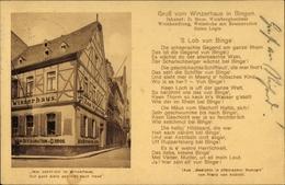 Cp Bingen Am Rhein, Zum Winzerhaus, Inhaber D Hoos, Gedicht Von Franz Von Kobell - Germany