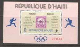 1969  Champions Du Marathon Olympique  Bloc Feuillet 1,50G Dentelé - Haiti