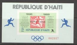 1969  Champions Du Marathon Olympique  Bloc Feuillet 1,50G Non-dentelé - Haití