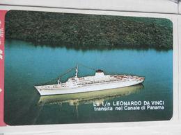 18275) NAVE LEONARDO DA VINCI TRANSITA NEL CANALE DI PANAMA ITALIA NAVIGAZIONE CALENDARIO DA TASCA 1972 - Barche