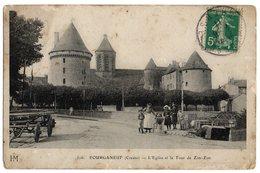 CPA   23   BOURGANEUF   1911     L EGLISE ET LA TOUR DE ZIM ZIM     FEMME AVEC ENFANTS - Bourganeuf