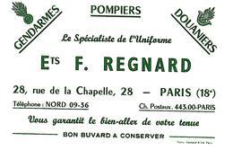 U R/Buvard Uniformes F Regnard  (Format 21 X 13.5) (N= 1) - Textile & Clothing