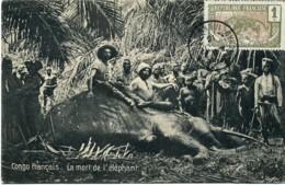 Congo Français. La Mort D'un Eléphant. (Timbre Moyen-Congo 1c). - Congo Francese - Altri