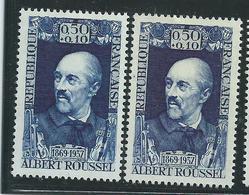 [23] Variété :   N° 1590 Albert Roussel Bleu-foncé Au Lieu D'outremer + Normal ** - Varieties: 1960-69 Mint/hinged
