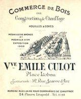 CULOT   Commerce De Bois Construction, Houilles, Cokes    NANCY   Belle Illustration 1911 - Lettres De Change