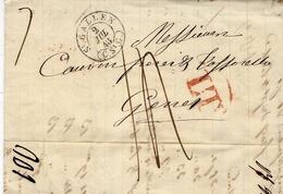 1843- Lettre De ST GALLEN  Pour Gênes -transit  L T  De Milano Taxe 14 - Au Dos, Arrivée 5. LUGLIO Rouge - ...-1845 Préphilatélie