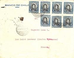 1932- Enveloppe Du Chili Pour La France -affr. à 70 Centavos ( 10 C X7 ) Voie De Mer - Chile