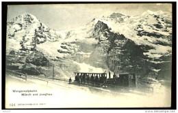 Wengernalpbahn Monch Und Junfrau - (plan Animé Avec Train à Crémaillère) - CP Précurseur, Vers 1900, Dos Non Divisé. - BE Berne