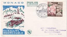 MONACO 1958 FDC  THEME RALLYE MONTE CARLO - FDC
