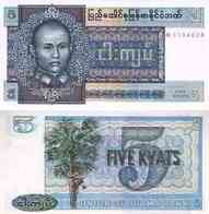 10 Pieces Burma 5 Kyats 1973 UNC - Billets