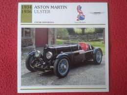FICHA TÉCNICA DATA TECNICAL SHEET FICHE TECHNIQUE AUTO COCHE CAR VOITURE 1934 1936 ASTON MARTIN ULSTER GREAT BRITAIN VER - Coches