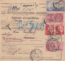 BULLETIN D'EXPEDITION D'un Colis Taxé De STRASBOURG PLACE DE LA CATHEDRALE Du 30.11.37 Adressé à Saverne - Spoorwegzegels