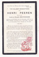 DP Henri Peeren / Bruynooghe ° Leisele Alveringem 1872 † Houthem Veurne 1914 - Images Religieuses
