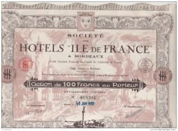 """33-HOTELS """"ILE DE FRANCE"""" A BORDEAUX. Action 1930. Belle DECO. Lot De 12 - Other"""