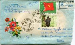 VIET-NAM LETTRE RECOMMANDEE AVEC AFFRANCHISSEMENT COMPLEMENTAIRE AU DOS DEPART CHO GAO 21-9-78 POUR LA FRANCE - Vietnam