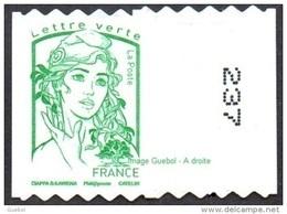 France Autoadhésif N° 1257.** Marianne De Ciappa Et Kawena. Sans Le Grammage Verte (PRO Verso N° à Droite) - Adhésifs (autocollants)