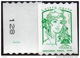 France Marianne De Ciappa Et Kawena N° 1257.** Autoadhésif. Sans Le Grammage Verte (PRO Verso N° à Gauche) - 2013-... Marianne De Ciappa-Kawena
