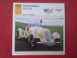 FICHA TÉCNICA DATA TECNICAL SHEET FICHE TECHNIQUE AUTO COCHE CAR VOITURE 1935 DUESENBERG SPECIAL USA UNITED STATES CARS - Voitures