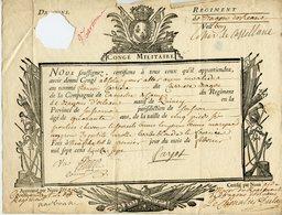CONGE MILITAIRE 1737 REGIMENT DE DRAGONS D'ORLEANS POUR UN DRAGON ORIGINAIRE DE QUINCY (SOUS LE MONT) - Documentos