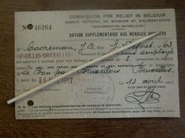 Kaart COMMISION FOR RELIEF IN BELGIUM     13 Avril 1917 - 1914-18