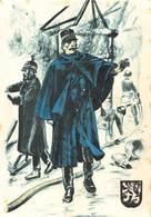 Politie Rijkswacht Gent 1900 Politieuniformen  Politieofficier Officier In Uniform Bij Brand   X 4232 - Police - Gendarmerie