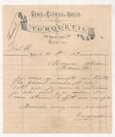 1889 POISSY TURQUETIL VINS ET CIDRES EN GROS   B315 - Food