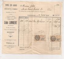 1904 REMIREMONT LEON LAMBERT / VINS EN GROS / TIMBRES FISCAUX    B316 - Food