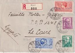 SUISSE1937 LETTRE RECOMMANDEE DE BRAIL AVEC CACHET ARRIVEE LE CAIRE - Lettres & Documents