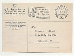Suisse Schweiz 1941:Zürcher Knabenschiessen 1941 650 JAHRE EIDGENOSSENSCHAFT O AUTOMOBIL-POSTBUREAU 13.IX.41 Militär-PK - Tir (Armes)