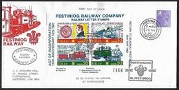 1982 - GREAT BRITAIN [WALES] - FDC + SG W42 + Railway + PORTHMADOG - Local Issues