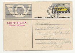 """Suisse Schweiz 1938: """"MONTREUX Fête Des Narcisses"""" Sur CPI Avec O BUREAU DE POSTE AUTOMOBILE 3.VII.38 - Végétaux"""