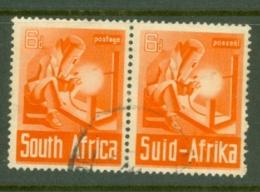 South Africa: 1941/46   War Effort (Large Size)   SG92   4d   Orange-brown     Used Pair - Gebraucht