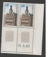FRANCE 1966-1967  N°YT 1499 **  Paire Et  Coin  Daté  28.6.67 /  Hotel De Ville De Saint-Quentin  /    MNH - Frankrijk