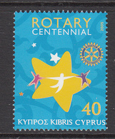 2005 Cyprus Rotary International 100th Anniv  Set Of 1 MNH - Unused Stamps