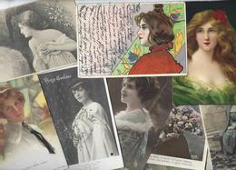 Lot 1467 De 10 CPA Femme Girl Women Glamour Dont Illustrateurs Déstockage Pour Revendeurs Ou Collectionneurs - Cartes Postales