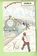 SHANKLIN - I Am Leaving Here  - Illustrateur BOYD - En Gare - Carte Humoristique - Train Humanisé - 2 Scans - Angleterre