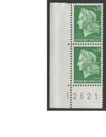 FRANCE 1967 - 1989  N°YT 1536 ** Paire + Coin Et N° De Feuille /  Marianne Cheffer  30c Vert  / MNH - 1967-70 Marianne Van Cheffer
