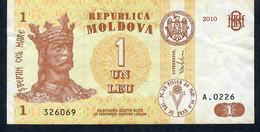 MOLDOVA P8h 1 LEU 2010   # A.0226.       VF NO P.h. - Moldova