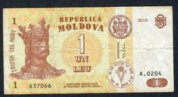 MOLDOVA P8h 1 LEU 2010   # A.0204      VF NO P.h. - Moldova