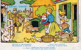 Carte De Franchise Orient Illustrée Par Benjamin Rabier Rentrée D'Orient - Marcophilie (Lettres)