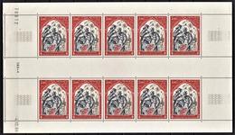MONACO 1969 / FEUILLE DE 10 TP / N° 788 /  NEUFS** - Blocks & Sheetlets