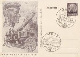 Entier Illustré De Metz (Metz Tag Der Briefmarke / Bombardier Et Pont De Bateaux) Entier Lothr 6pf Le 12/1/41 - Alsace Lorraine